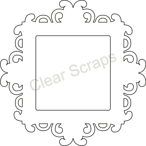 Clear Scraps - Clearly Framed - Square Center, Fancy Outer - Medium