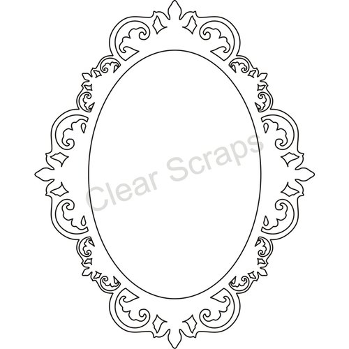Clear Scraps - Clearly Framed - Oval Center, Fancy Outer - Small
