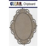 Clear Scraps - Chipboard Frame - Oval Fancy