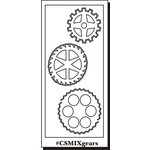 Clear Scraps - Clear Mixers - Clear Acrylic Stencil - Gears