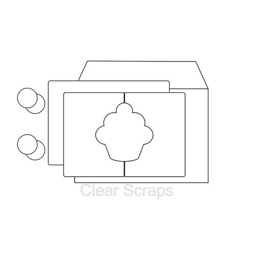 Clear Scraps - Send it Clear - Acrylic Card with Envelope - Cupcake