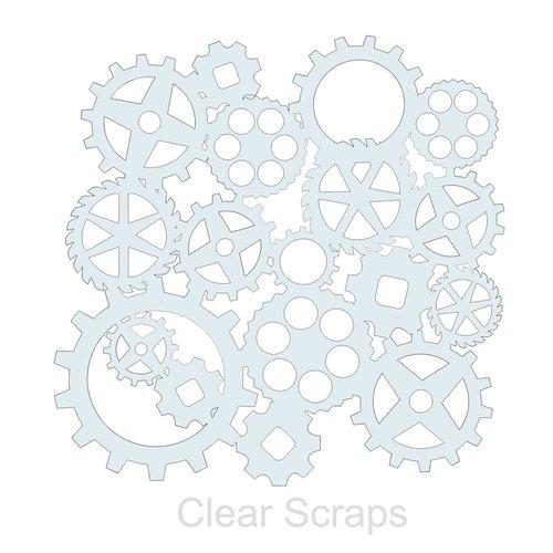 Clear Scraps - Mascils - 12 x 12 Masking Stencil - Gears