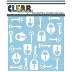 Clear Scraps - Mascils - 12 x 12 Masking Stencil - Keys n Lock