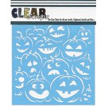 Clear Scraps - Mascils - Halloween - 12 x 12 Masking Stencil - Pumpkin Faces