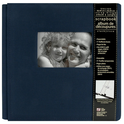 Colorbok - Westrim - Cloth - 12 x 12 Strap-Hinge Album - Blue