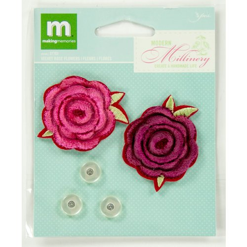 Colorbok - Making Memories - Modern Millinery Collection - Flower Embellishments - Velvet Rose and Buttons