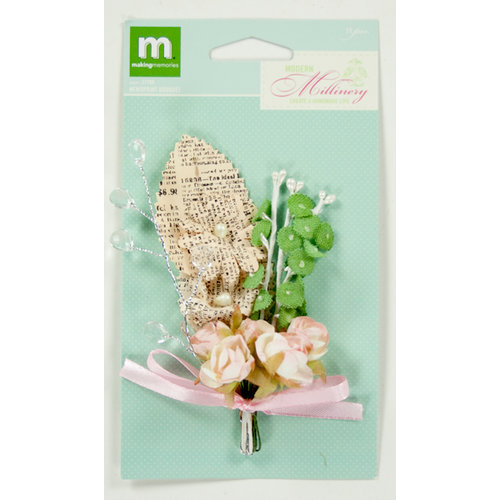 Colorbok - Making Memories - Modern Millinery Collection - Flower Embellishments - Millinery Flower Bouquet - Newsprint