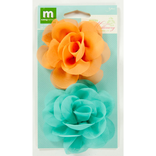 Colorbok - Making Memories - Modern Millinery Collection - Flower Embellishments - Teal and Orange