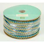 Colorbok - Making Memories - Modern Millinery Collection - Trim Spool - Aqua and Gold - 25 Yards