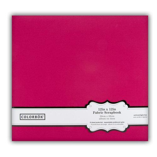 Colorbok - Fabric - 12 x12 - Postbound Scrapbook Albums - Pink