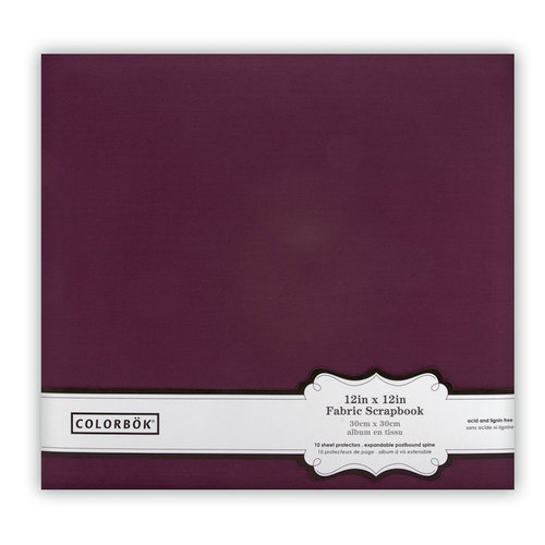 Colorbok - Fabric - 12 x12 - Postbound Scrapbook Albums - Plum