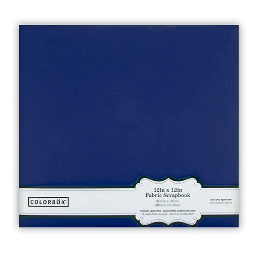 Colorbok - Fabric - 12 x12 - Postbound Scrapbook Albums - Navy