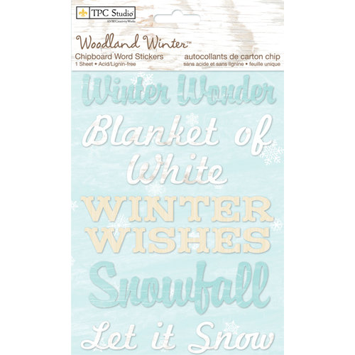 Colorbok - TPC Studio - Woodland Winter Collection - Chipboard Stickers - Words