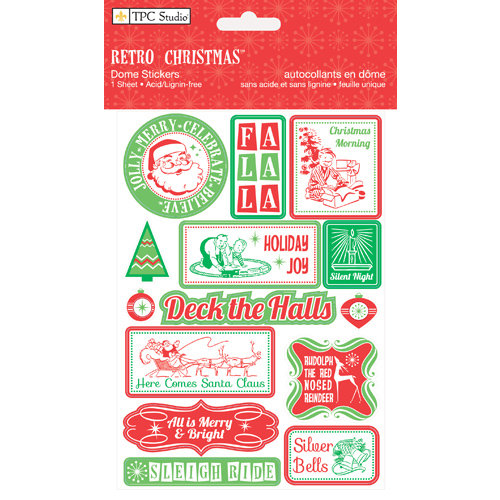 Colorbok - TPC Studio - Retro Christmas Collection - Dome Stickers with Glitter Accents