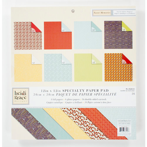 Colorbok - Heidi Grace Designs - Tweet Memories Collection - 12 x 12 Specialty Paper Pad - Basics