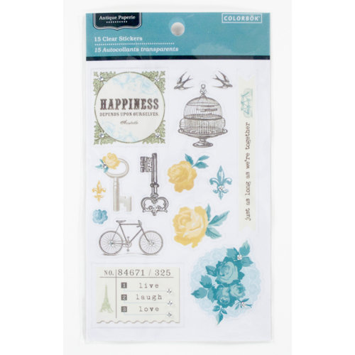 Colorbok - Antique Paperie Collection - Clear Stickers with Gem Accents