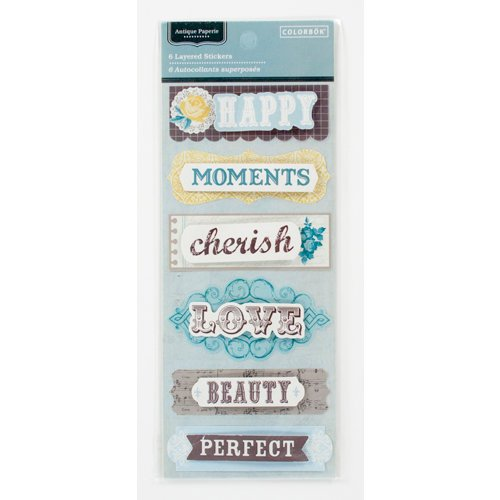 Colorbok - Antique Paperie Collection - Layered Glitter Stickers