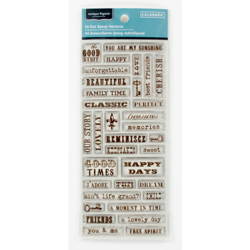Colorbok - Antique Paperie Collection - Epoxy Stickers - Words