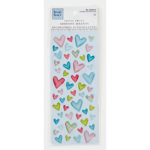 Colorbok - Heidi Grace Designs - Daydream Collection - Epoxy Stickers - Hearts