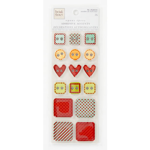 Colorbok - Heidi Grace Designs - Tweet Memories Collection - Die Cut Chipboard Stickers with Epoxy and Foil Accents - Buttons