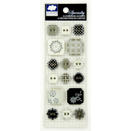 Colorbok - Cloud 9 Design - Nightshade Collection - Die Cut Chipboard Stickers with Epoxy and Foil Accents - Buttons