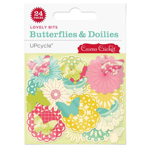 Cosmo Cricket - Upcycle Collection - Lovely Bits - Butterflies and Doilies, BRAND NEW