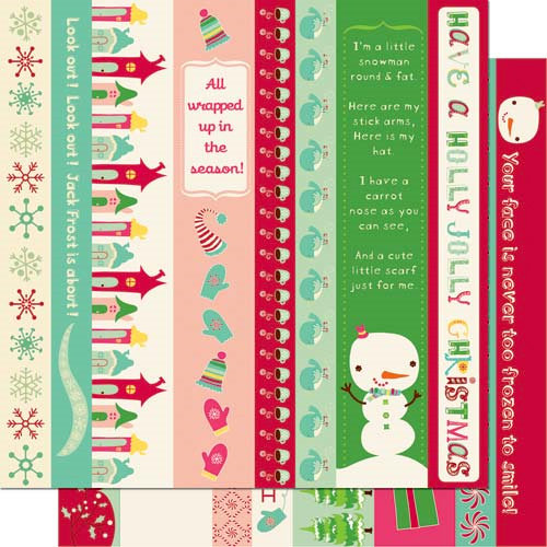 Cosmo Cricket - Jolly By Golly Collection - 12 x 12 Double Sided Paper - Borders, CLEARANCE