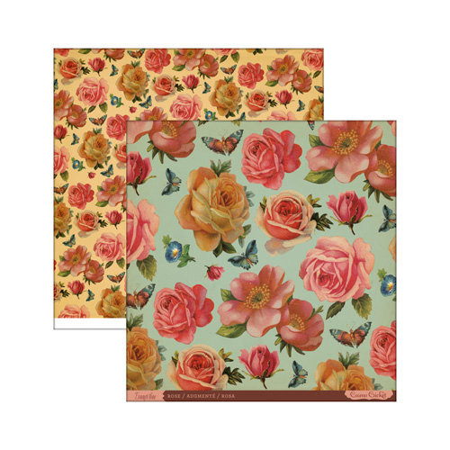 Cosmo Cricket - Evangeline Collection - 12 x 12 Double Sided Paper - Rose