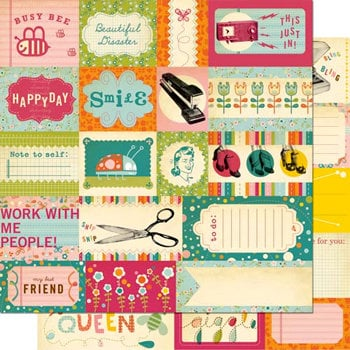 Cosmo Cricket - Girl Friday Collection - 12 x 12 Double Sided Paper - Elements