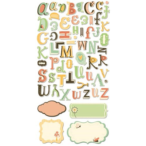 Cosmo Cricket - Earth Love Collection - Ready Set Chipboard - Alphabet