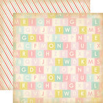 Carta Bella Paper - Baby Mine Collection - Girl - 12 x 12 Double Sided Paper - Alphabet Soup