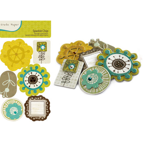 Crate Paper - Brook Collection - Sparkle Chipboard Stickers with Glitter and Gem Accents, CLEARANCE