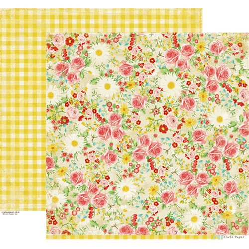 Crate Paper - Emma's Shoppe Collection - 12 x 12 Double Sided Paper - Fabrics