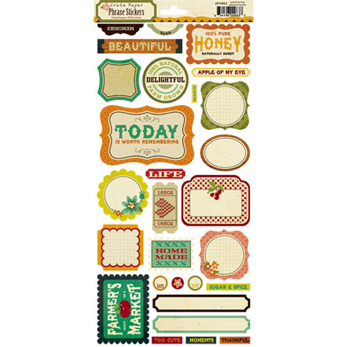 Crate Paper - Farmhouse Collection - Cardstock Stickers - Phrase