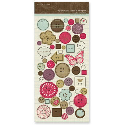 Crate Paper - Mia Collection - Epoxy Buttons and Shapes, CLEARANCE