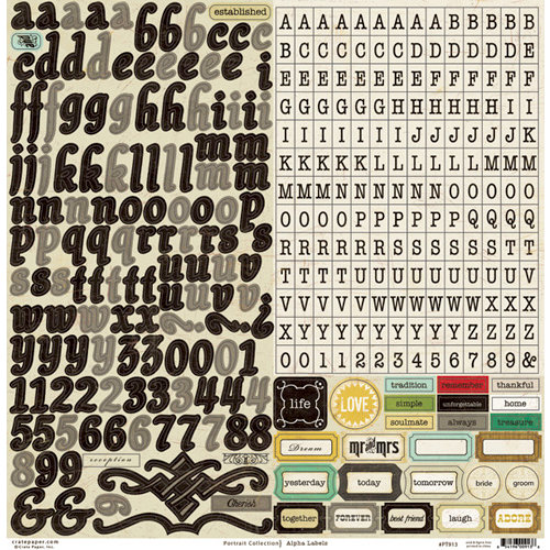 Crate Paper - Portrait Collection - Cardstock Stickers - Alphabet and Labels