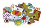 Crate Paper - Snow Day Collection - Christmas - Layered Chipboard Stickers - Buttons Felt and Rhinestone Accents
