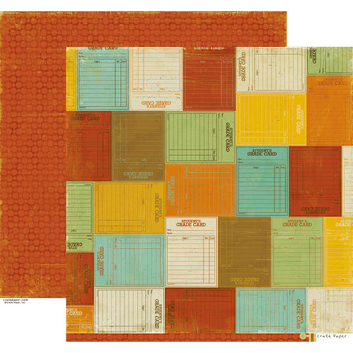 Crate Paper - School Spirit Collection - 12 x 12 Double Sided Paper - Grade Card