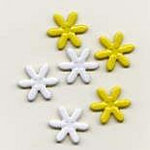 Creative Impressions - Brads - Daisy - White and Yellow