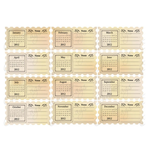 Chic Tags - Delightful Paper Tags - 2012 Vintage Note Calendars - Set of 12