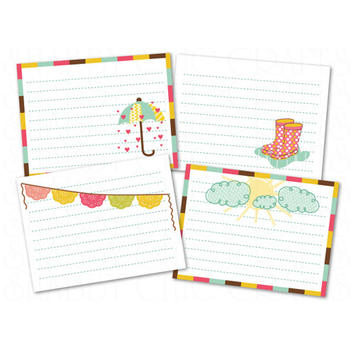 Chic Tags - Delightful Paper Tags - April Showers Journaling Cards - Set of 4