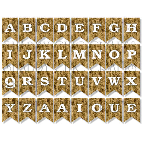 Chic Tags - Delightful Paper Tags - Burlap Bunting Alphabet - Set of 32