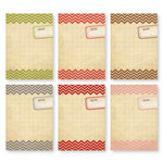 Chic Tags - Delightful Paper Tags - Christmas Chevron Artist Trading Cards - Set of 6