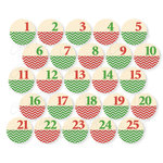 Chic Tags - Delightful Paper Tags - Christmas Chevron Numbers - Set of 25