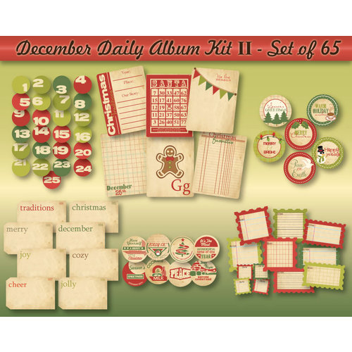 Chic Tags - Delightful Paper Tags - December Daily Album Kit II - Set of 65
