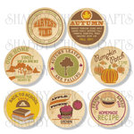 Chic Tags - Delightful Paper Tags - Fall Milk Bottle Caps - Set of 8