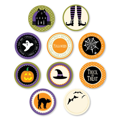 Chic Tags - Delightful Paper Tags - Halloween Icon Circles - Set of 10