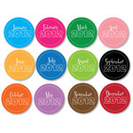 Chic Tags - Delightful Paper Tags - New Year Circles - Colored - Set of 12