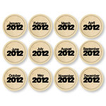 Chic Tags - Delightful Paper Tags - New Year Circles - Vintage - Set of 12