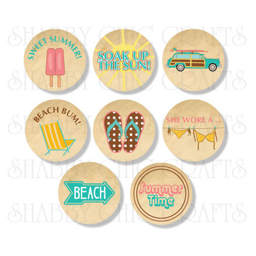 Chic Tags - Delightful Paper Tags - Soak Up The Sun Icons - Set of 8